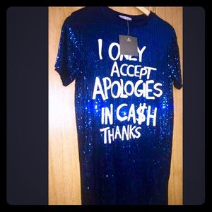 Zara Dresses - COMING SOON Zara Blue Sequined Mini Shirt Dress